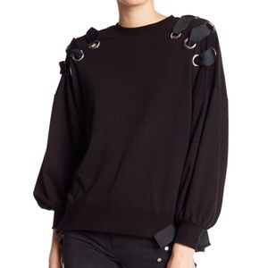 NWT DEX Black Grommet And Ribbon Sweater
